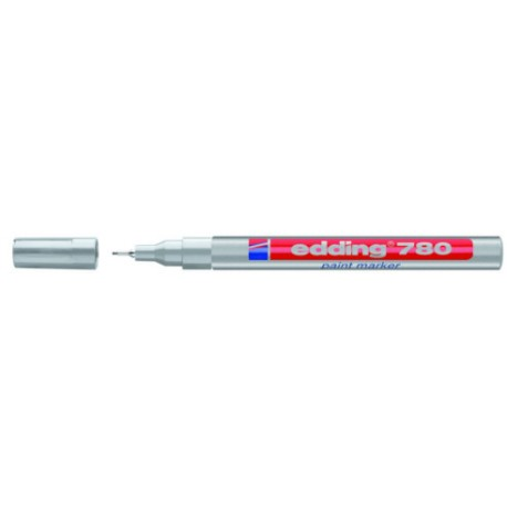 Extra fine & highly opaque labelling with the paint marker edding 780 Silver color